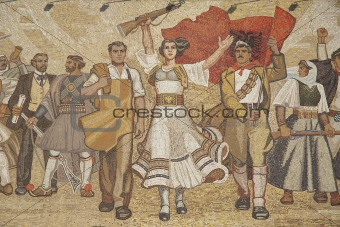 albanian nationalistic mural in tirana albania