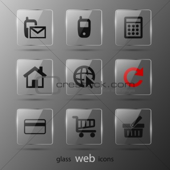 Glass web icons.