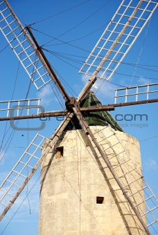 stone windmill on gozo island in malta