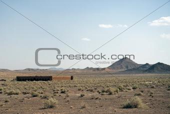caravanserai ruins in iran desert