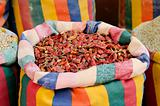 dried chilli peppers in middle east souk market cairo egypt