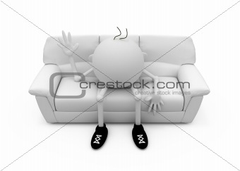 3D the character sits on a sofa