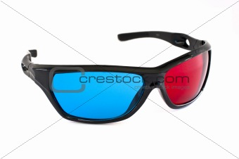 3D cinema glasses on white background