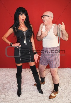 Annoyed Dominatrix and Client