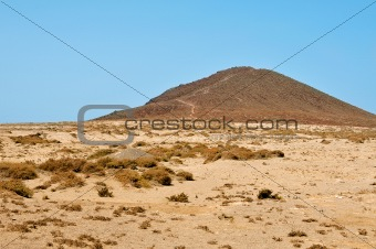 A view of Montana Roja volcano in Tenerife, Canary Islands, Spain