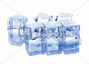 Six ice cubes with reflection