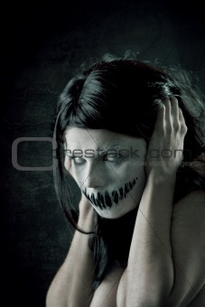 Horrible girl with scary mouth