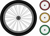Bicycle wheels. series detailed wheels of the vehicles isolated on white