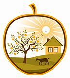 rural scene in apple