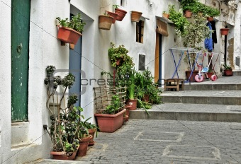 A street of old town of Ibiza, Balearic Islands, Spain