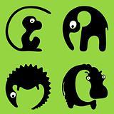 Wild African animals round signs or logos