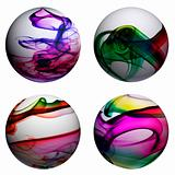 spheres with smoke of different colors