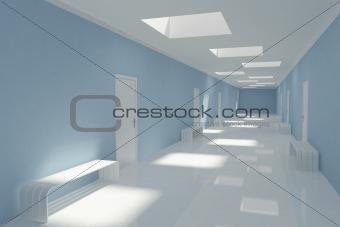 Modern long corridor