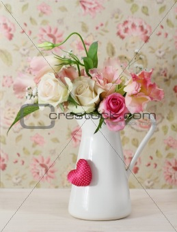 Bouquet of white and pink roses in the pot