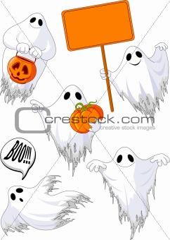 Set of cute ghosts