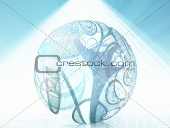 Abstract ball shape with swirling lines