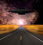 UFO Emerges over Road