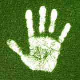 Grass hand print
