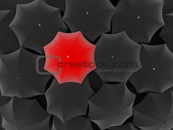 One unique red umbrella, among other black