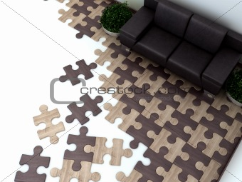 floor in the interior is designed as Puzzles