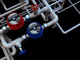 communication of water meters and taps on a black background