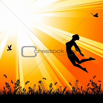 Nature background with silhouette jumping girl
