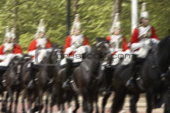 Household Cavalry Riding In The Street