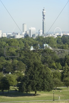 Cityscape With The BT Tower And Millennium Wheel, London, Englan