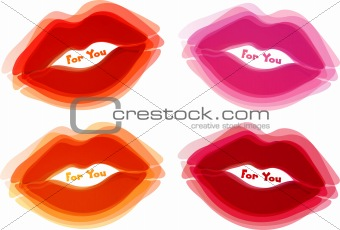 Abstract lips background, vector
