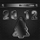Template metallic christmas, vector