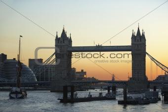 Tower Bridge At Sunset, London, England