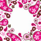 Paisley pink frame, vector