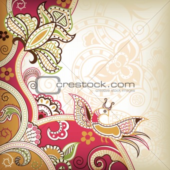 Abstract Floral and Bird