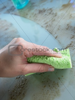 Cleaning Grease And Dirt Off Glass Counter