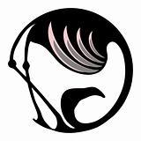 Flamingo symbol or logo in a circle
