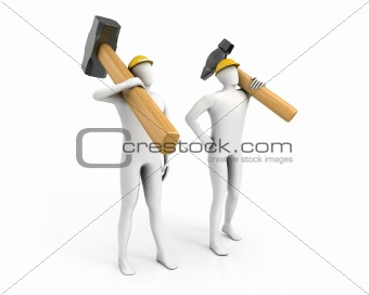 Two men with huge sledgehammer and hammer