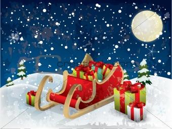 Santa's sleigh tree and snow