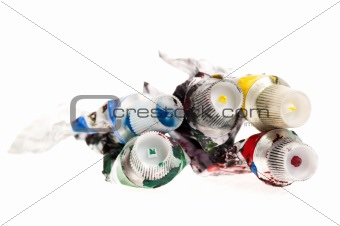 paint tubes isolated on the white