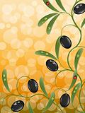 Floral background with olive branch. Vector illustration.