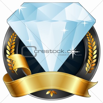 Achievement Award Diamond Jewel with Gold Ribbon, Vector