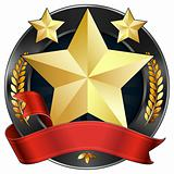 Achievement Award Star in Gold with Red Ribbon, Vector 