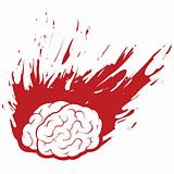 Burning Brain Headache Migraine or Stress with Grunge Fire,