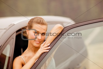 Beautiful Girl Portrait with Her New Vehicle