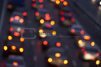 Tail Lights Shining Brightly In A Traffic Jam On Motorway