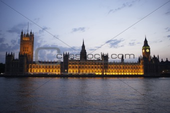 Houses Of Parliament Illuminated At Night, London, England