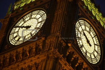 Big Ben Illuminated At Night, London, England