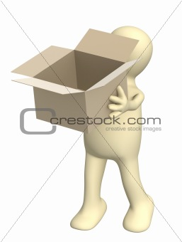 3d puppet with opened box