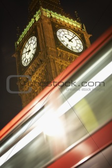 Double Decker Bus Speeding Past Big Ben, London, England