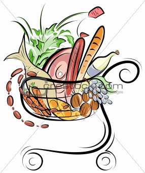 A Shopping cart with foods illustration
