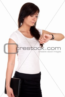 Portrait of successful business woman carrying laptop.